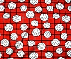 Volleyball on net - Red Fleece Fabric Print
